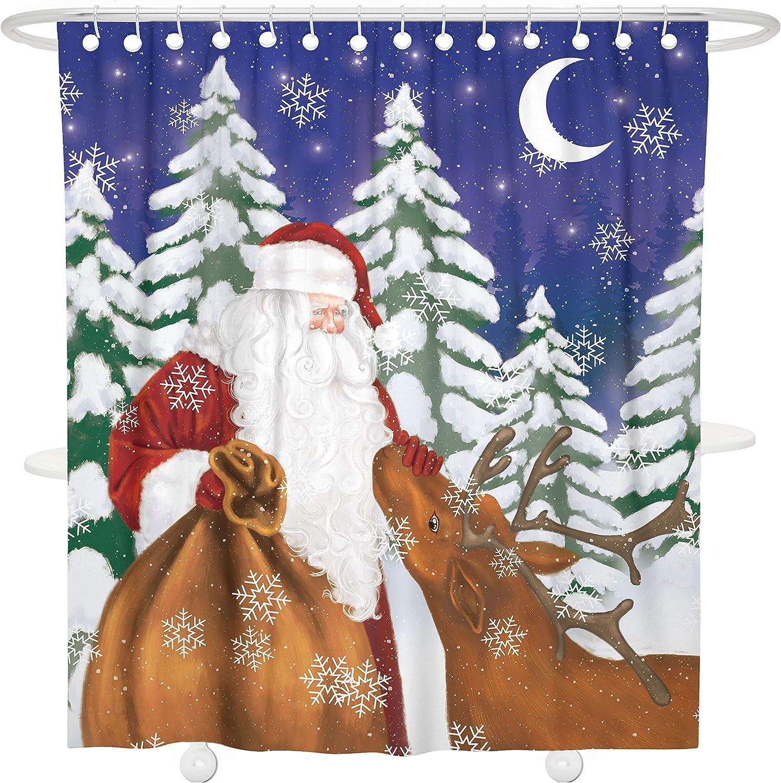 Waterproof Polyester Santa Claus Christmas Elk Reindeer Decorative Bathroom Curtain Liner with Hooks Bonsai Tree Christmas Fabric Shower Curtain 66 x 72 Inch