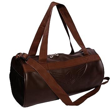 Auxter Leatherite Gym Bag Duffel Bag Emboss Logo (Brown)