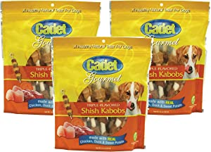 (3 Pack) Cadet Triple Flavored Dog Treat Shish Kabobs, 12 oz