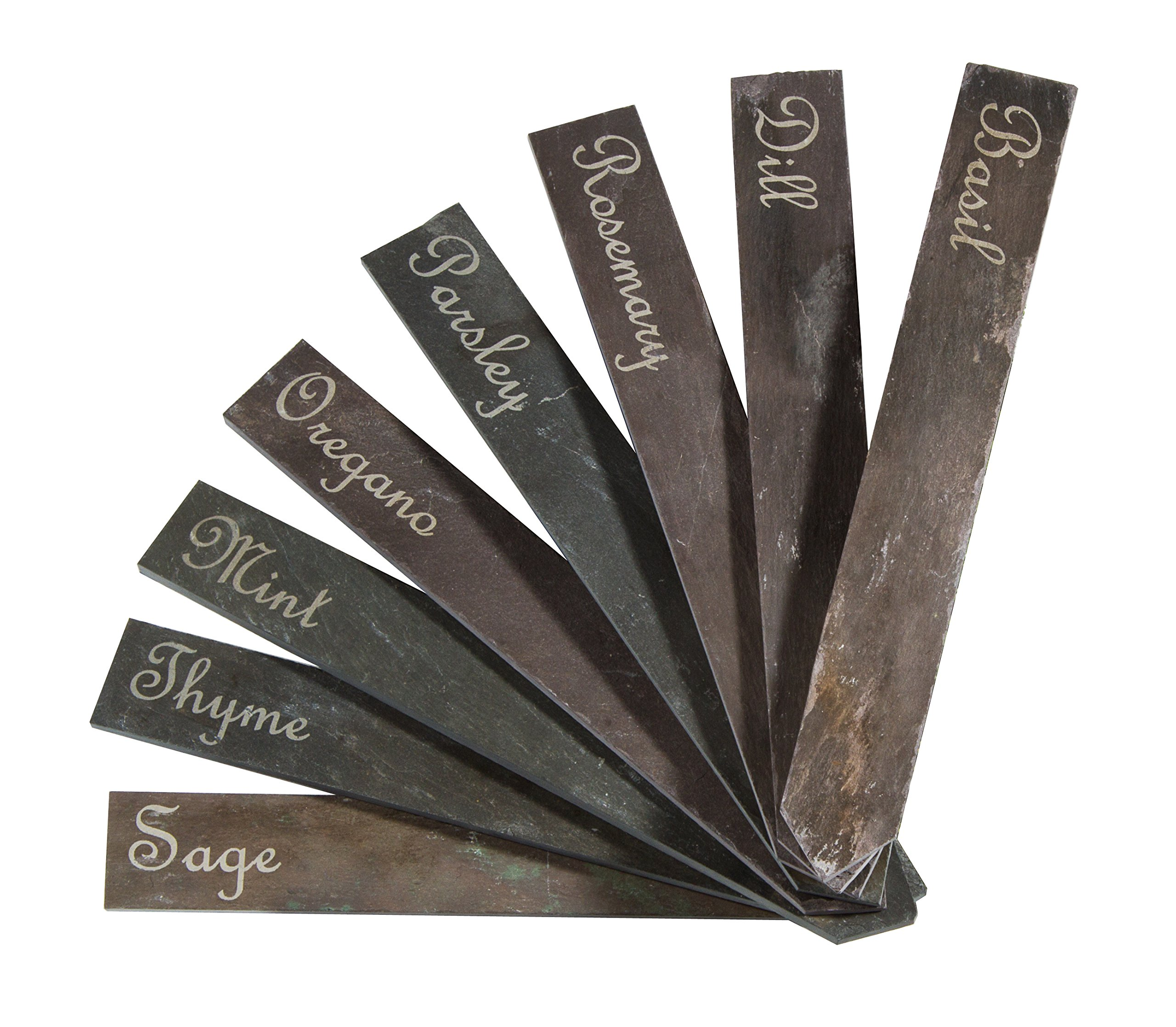 Slate Garden Plant Markers. Set of 8 Etched Garden Labels for the Vegetable or Herb Garden. Made in the USA of reclaimed New England Roofing Slate. (Herbs)