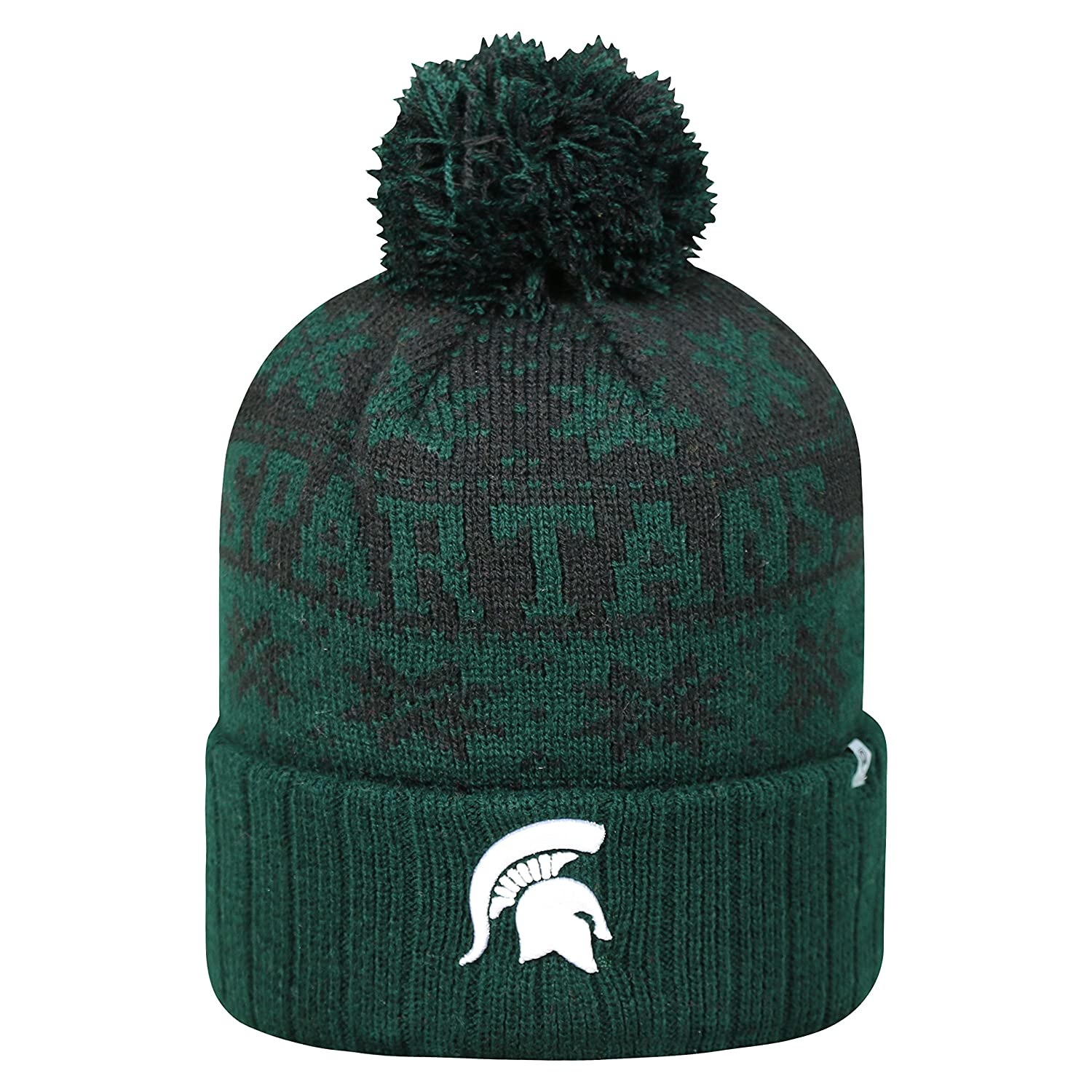 the best attitude 9a8fa 746eb Amazon.com   Top of the World Michigan State Spartans Subarctic Cuffed Pom  Knit Beanie Hat Cap   Clothing