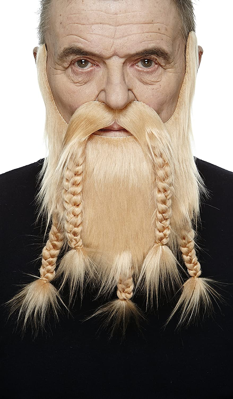 Viking Dwarf Fake Beard Mustaches Self Adhesive Novelty Ginger Color False Facial Hair