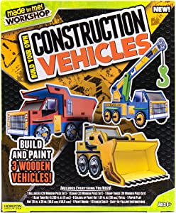 Made By Me Build Your Own Construction Vehicles by Horizon Group USA, Build & Customize 3 Wooden Vehicles
