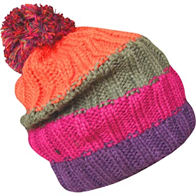 09931e9248d Men s Soft Chunky Knitted Stripy Slouch Winter Beanie Bobble Hat (Orange  Pink   Purple)