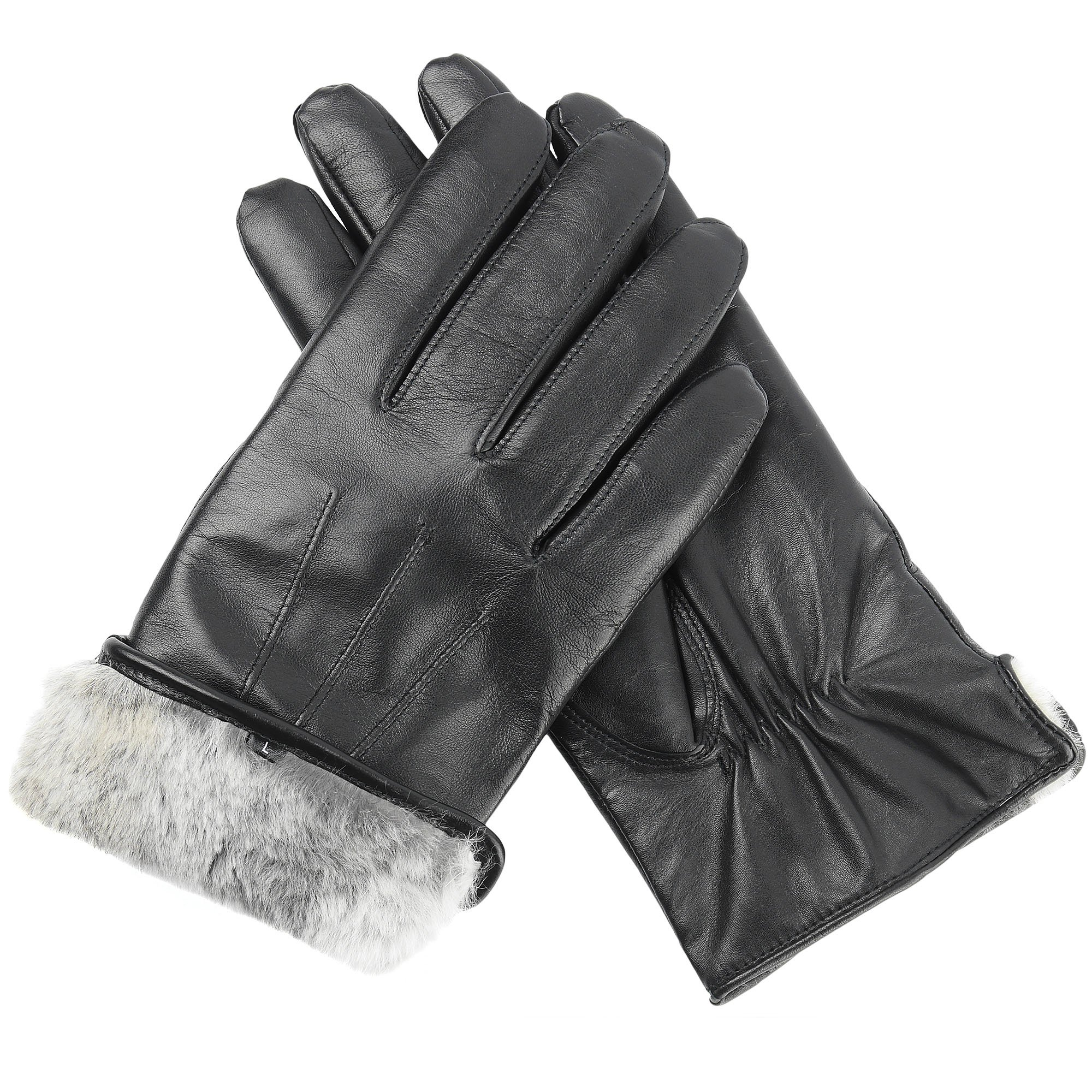 Candor and Class Men's Sheepskin Leather Gloves with Rabbit Fur Lining (Black, Large)