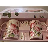 Nuova R2S R8699.283 Coffret 2 - Tazas + Cuillre Roses Romantiques