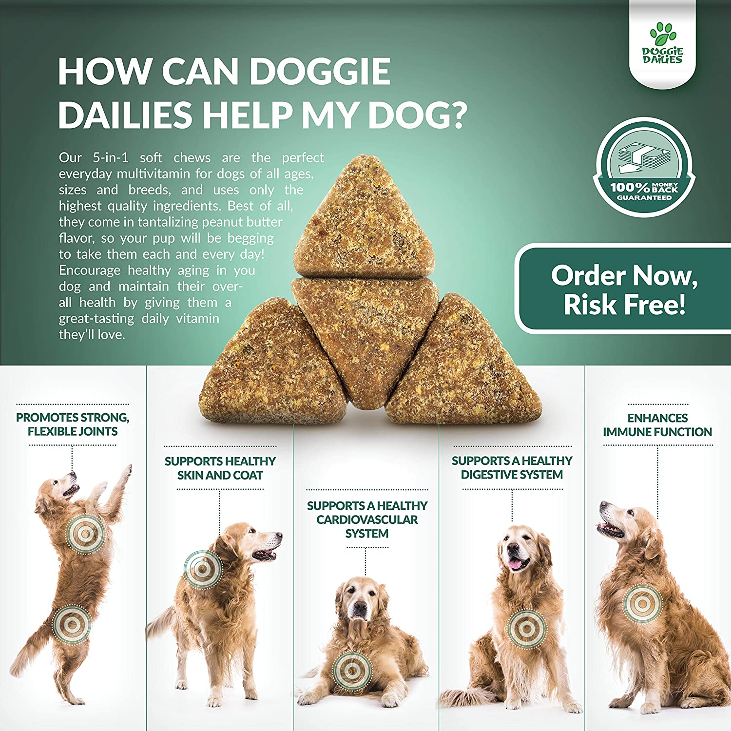 Doggie Dailies 5 in 1 Multivitamin for Dogs, 225 Soft Chews, Palm Oil Free Dog Multivitamin for Skin and Coat Health, Joint Health, Improved Digestion, Heart Health and Enhanced Immunity, Made in USA