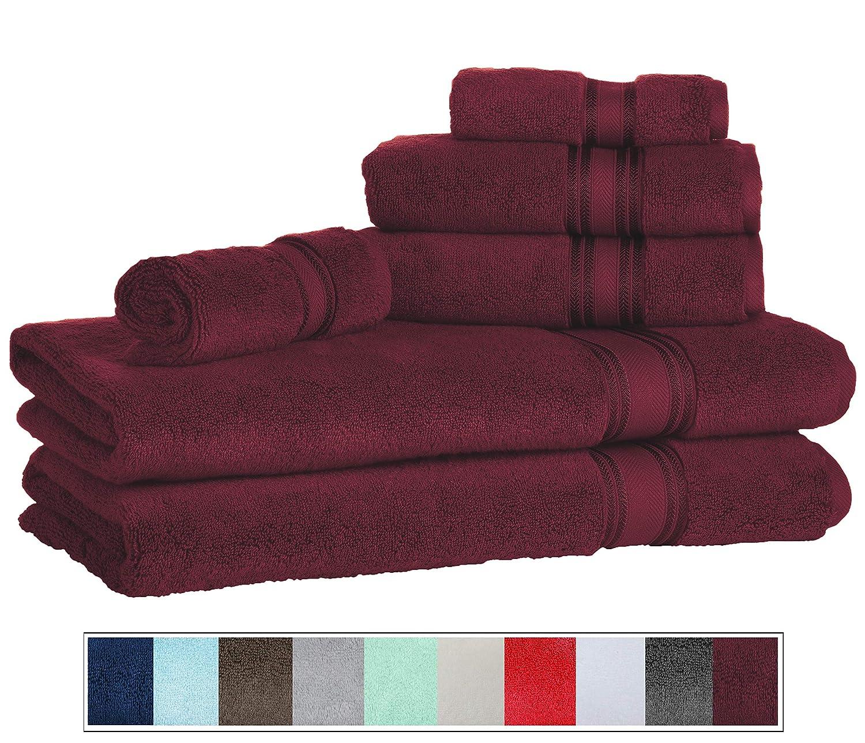 Casa Lino Quick Dry Super Zero Twist 6 Piece Bath Towel Set 7 Star Hotel Luxury Collection, 2 Bath Towel 28x54, 2 Hand Towel- 16x28, Face Towel- 13x13 (White) 2 Bath Towel 28x54 2 Hand Towel- 16x28