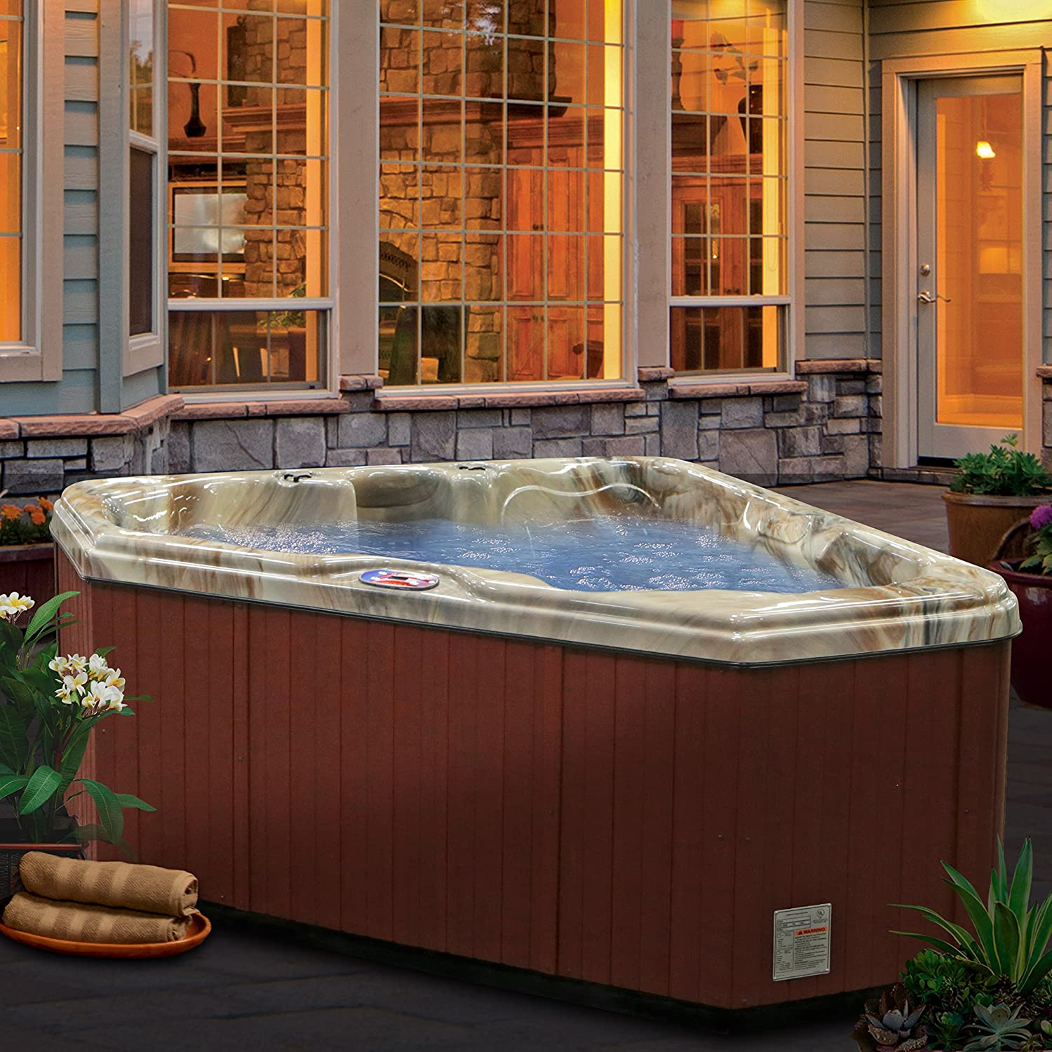 American Spas AM-628TM 2-Person 28-Jet Triangle Spa, Plug-In-Play ...