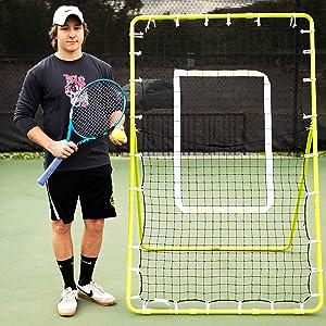 Rukket Tennis Practice Rebounder Net   Rebound Wall for Tennis & Racquet Sports Ball   Portable Backboard for Indoor & Outdoor Training