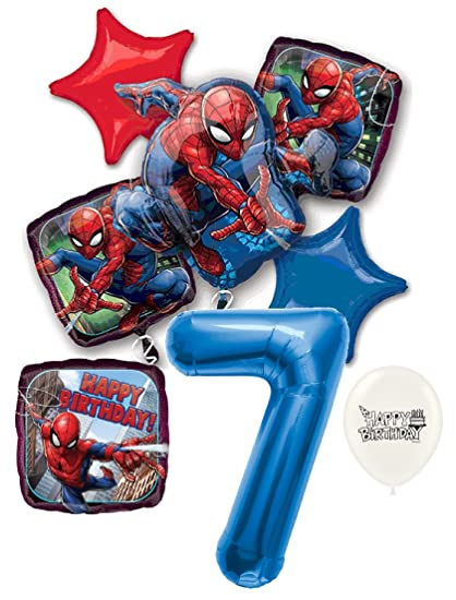 Amazon.com: 7th cumpleaños azul número Amazing Spiderman ...