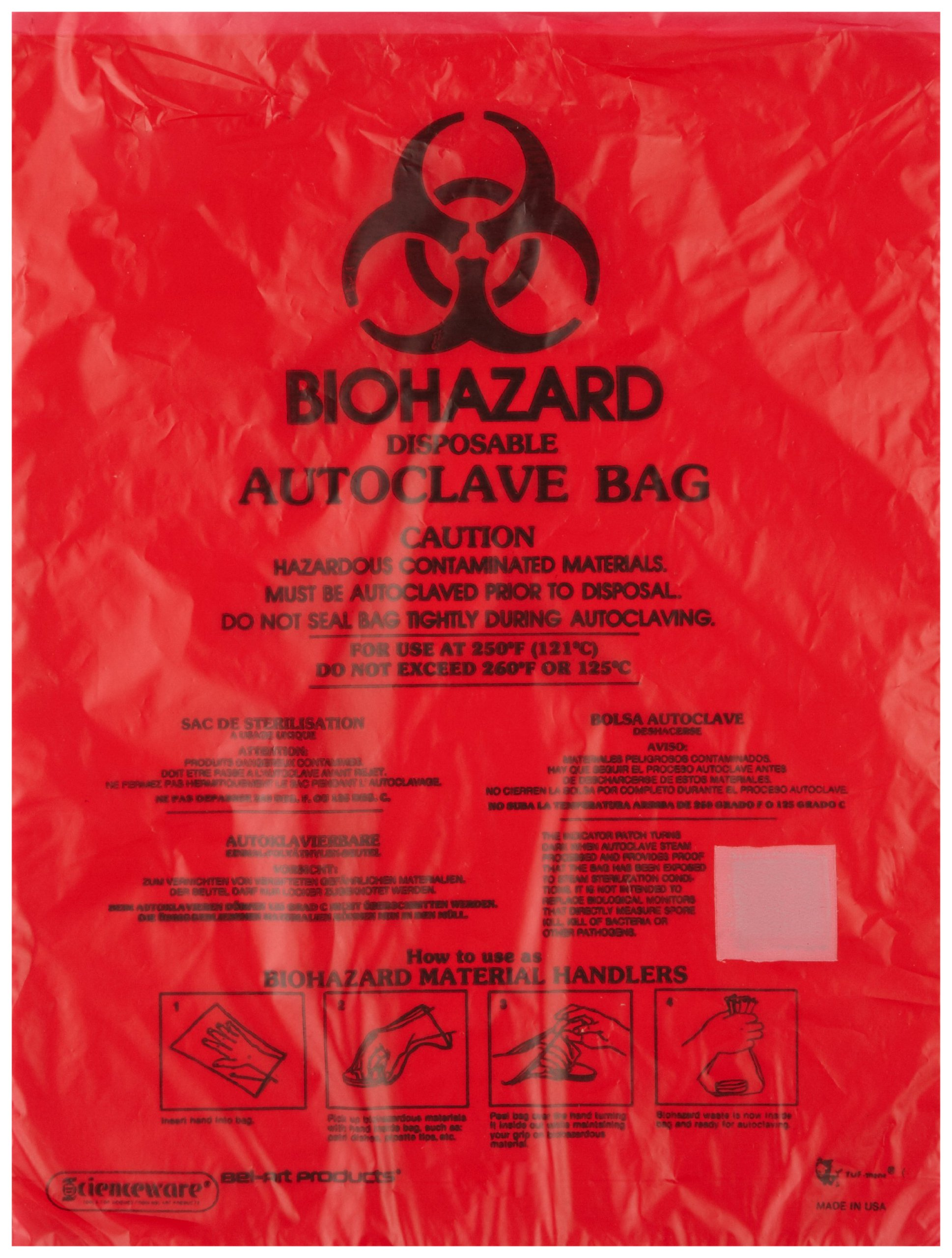 Bel-Art F13166-0001 Bench-Top Biohazard Bags; Red Polyethylene, 0.43 Gallon, 8.5W x 11 in. H, 0.018mm Thick (Pack of 1000)
