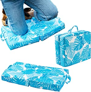 Raise Your Game Garden Kneeling Pad, Knee Protector Cushion Pillow for Garden Work, Large Thick Kneeler Foam Support for Gardening, Waterproof Foldable Mat, Indoor and Outdoor Chores (Blue)