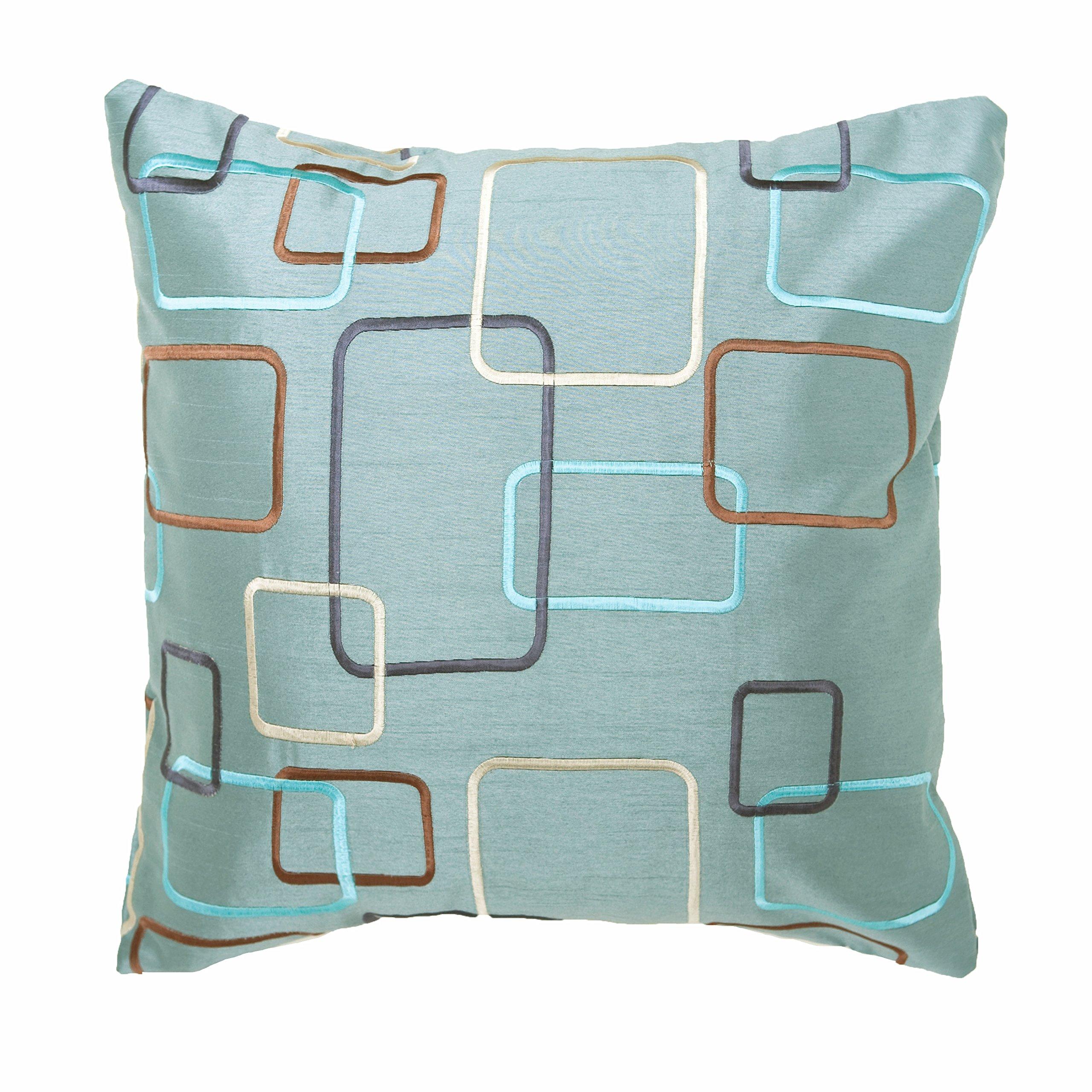 Softline Home Fashions SSQspablu18x18PW Somerset Throw Pillow, 18'', Spa Blue