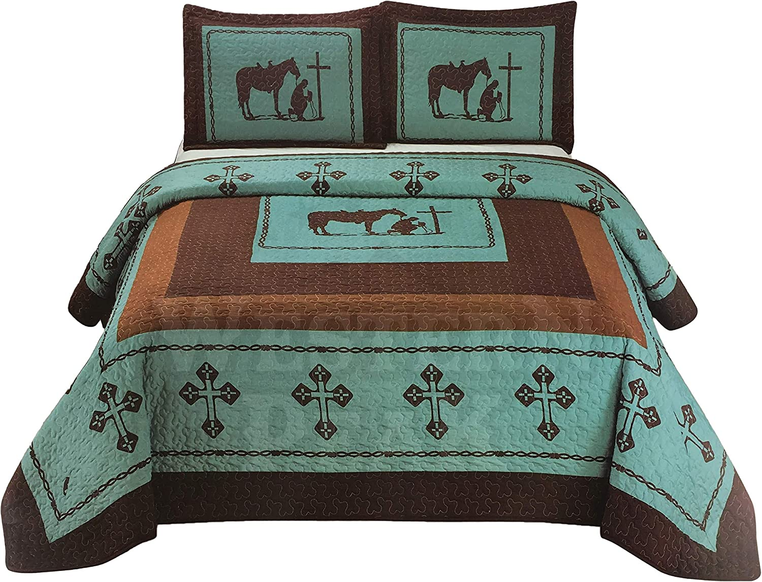 Western Peak 3 Pc Luxury Western Texas Cross Praying Cowboy Horse Cabin Lodge Barbed Wire Luxury Quilt Bedspread Oversize Comforter (Oversize Queen, Turquoise Teal)
