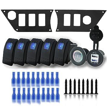 Car Dash Mounting Kits Car Electronics Accessories RZR XP4 1000 Iztor Aluminum Black Dash Panel Polaris w/4 rocker Switches and 12V voltmeter and 3.1A dual USB For Polaris RZR XP 1000