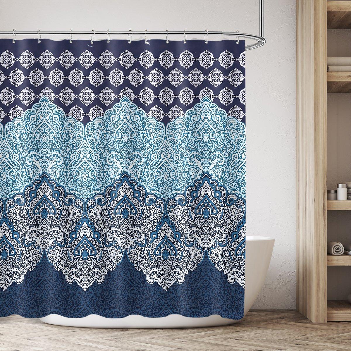 Cdcurtain Boho Paisley Shower Curtain Panel Free Metal Hooks 12-Pack Floral India Bohemia Dark Navy Shower Curtain Panel Polyester Waterproof Fabric Clawfoot Tub 72x72 Inch by Cdcurtain (Image #1)