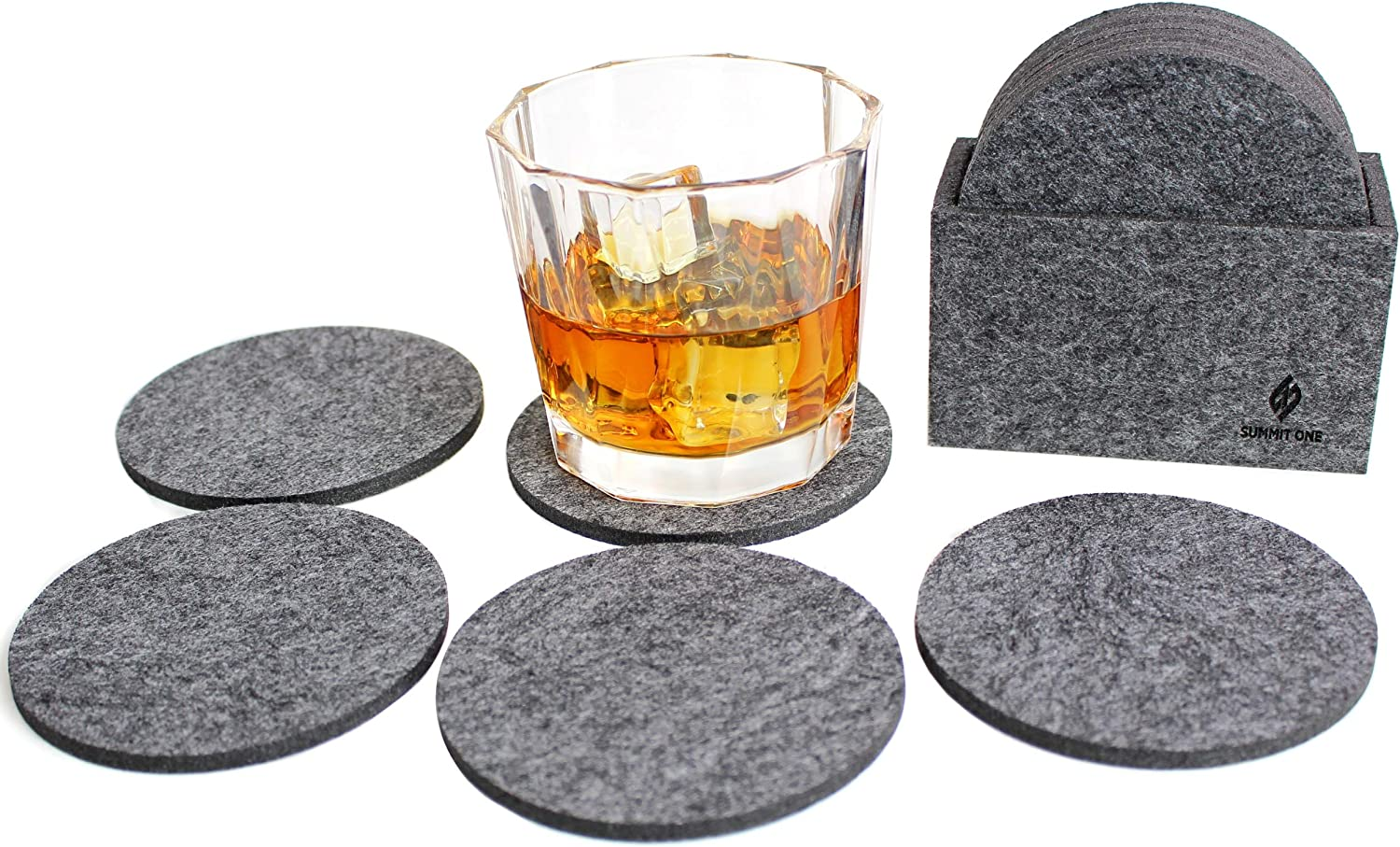 Summit One Premium Felt Absorbent Coasters, Set of 8 (4 Inch Round, 5mm Thick) - Super Absorbent Coasters For Drinks