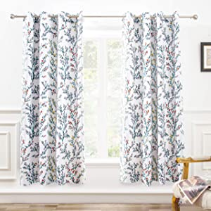 DriftAway Jasmine Watercolor Flower Floral Branch Botanical Lined Thermal Insulated Blackout Room Darkening Grommet Energy Saving Window Curtains 2 Layers 2 Panels Each Size 52 by 63 Inch Multi