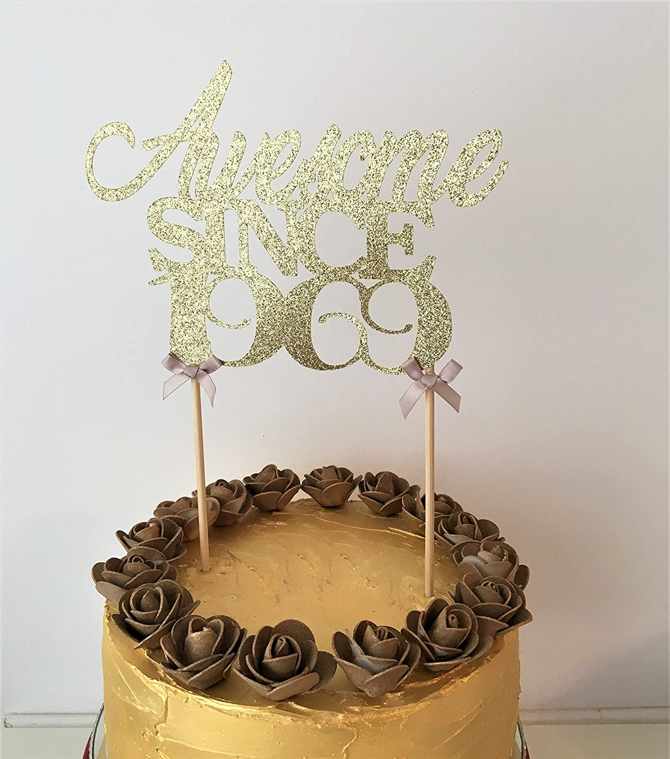 Awesome since 1969 Glitter Card Birthday Cake Topper 50th Birthday Decoraton.