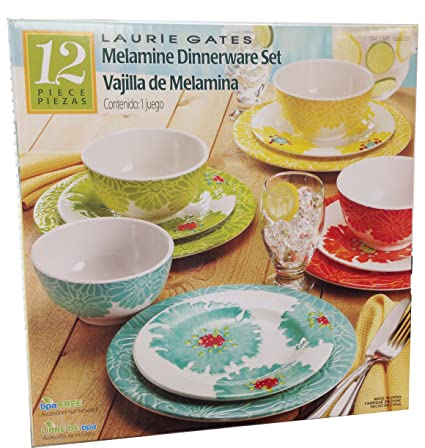 Laurie Gates - 12 Piece Melamine Dinnerware Set  sc 1 st  Amazon.com & Amazon.com | Laurie Gates - 12 Piece Melamine Dinnerware Set ...