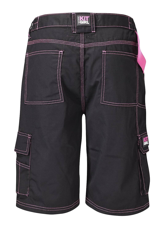 Workkitgirl Womens Black//Pink Workwear Cargo Shorts