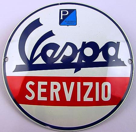 NUEVO esmalte Cartel Vespa servizio 12 cm redondo, Classic ...