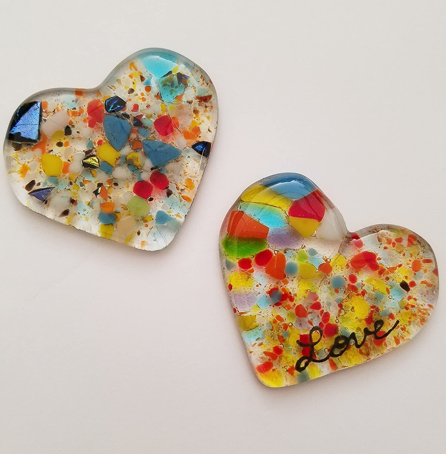 Colorful Fused Glass Heart beautiful Father's Day Gift
