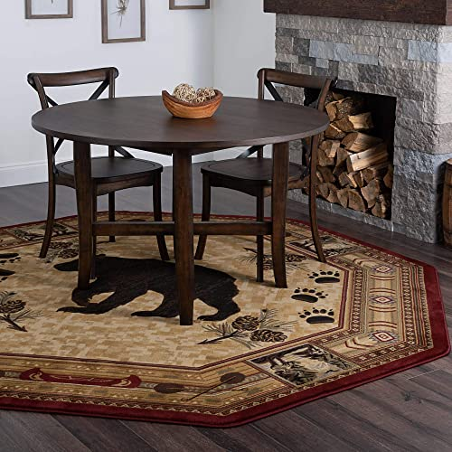 Tayse Black Bear Brown 8 Foot Octagon Area Rug Cabin for Living, Bedroom, or Dining Room – Lodge, Novelty