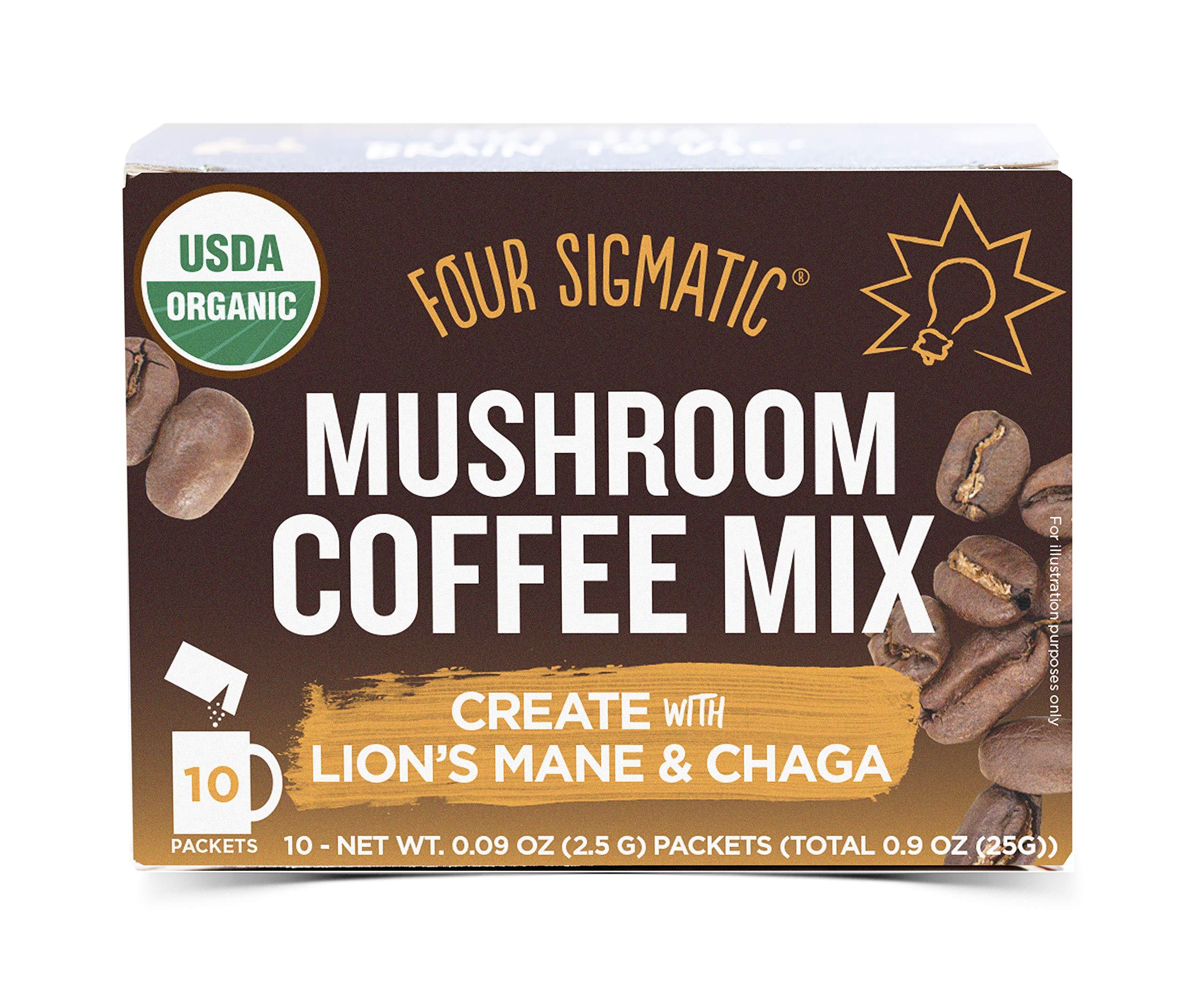 Four Sigmatic Mushroom Coffee, USDA Organic Coffee with Lion's Mane and Chaga mushrooms, Productivity, Vegan, Paleo, 10 Count, Packaging May Vary