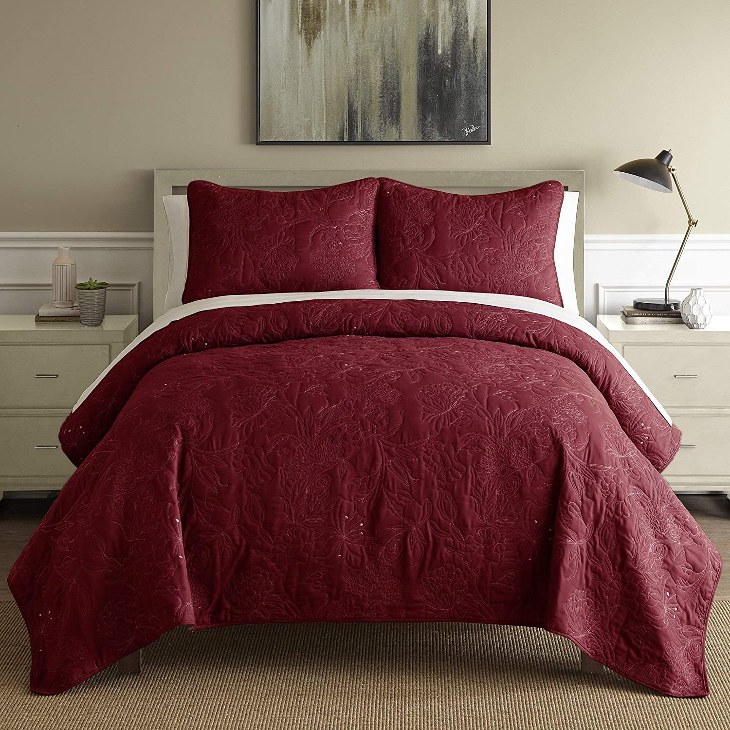 Amrapur Overseas 3-Piece Embroidered Floral Quilt Set with Shams (Dusty Plum, Queen) 3QLCEMBG-PLW-QN
