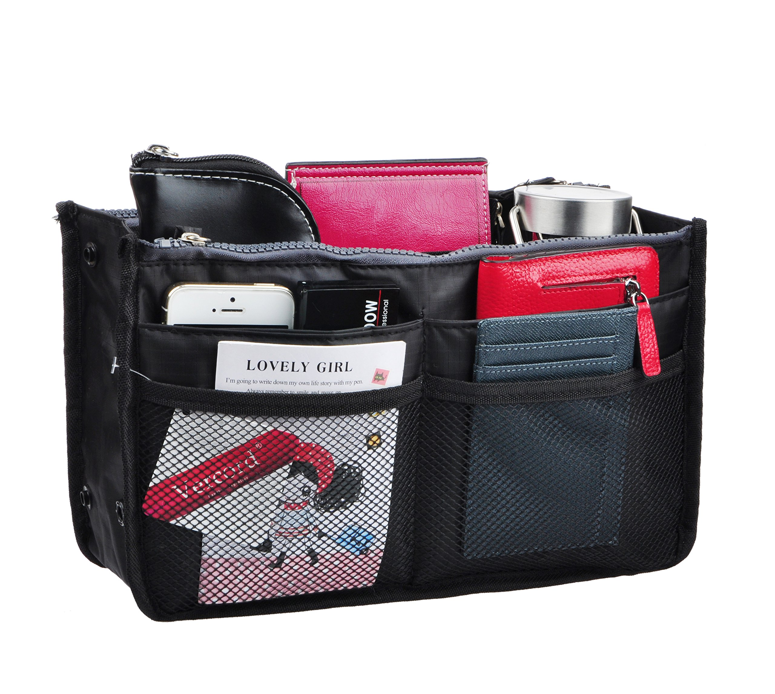 Vercord Updated Purse Handbag Organizer Insert Liner Bag in Bag 13 Pockets 3 Size, Black L