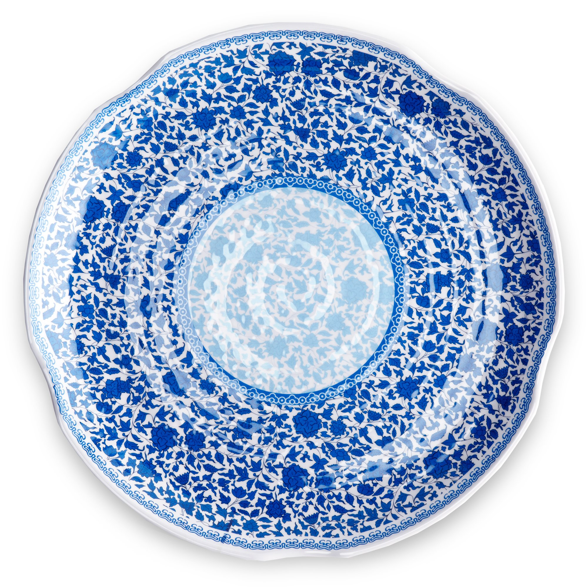 Q Squared Heritage BPA-Free Melamine Large Serving Platter, 16-Inches, Blue and White