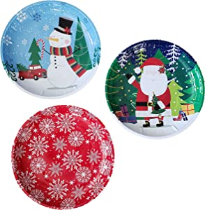 Christmas Holiday Printed Round Tin Christmas Trays, 10 in. - 3 CT