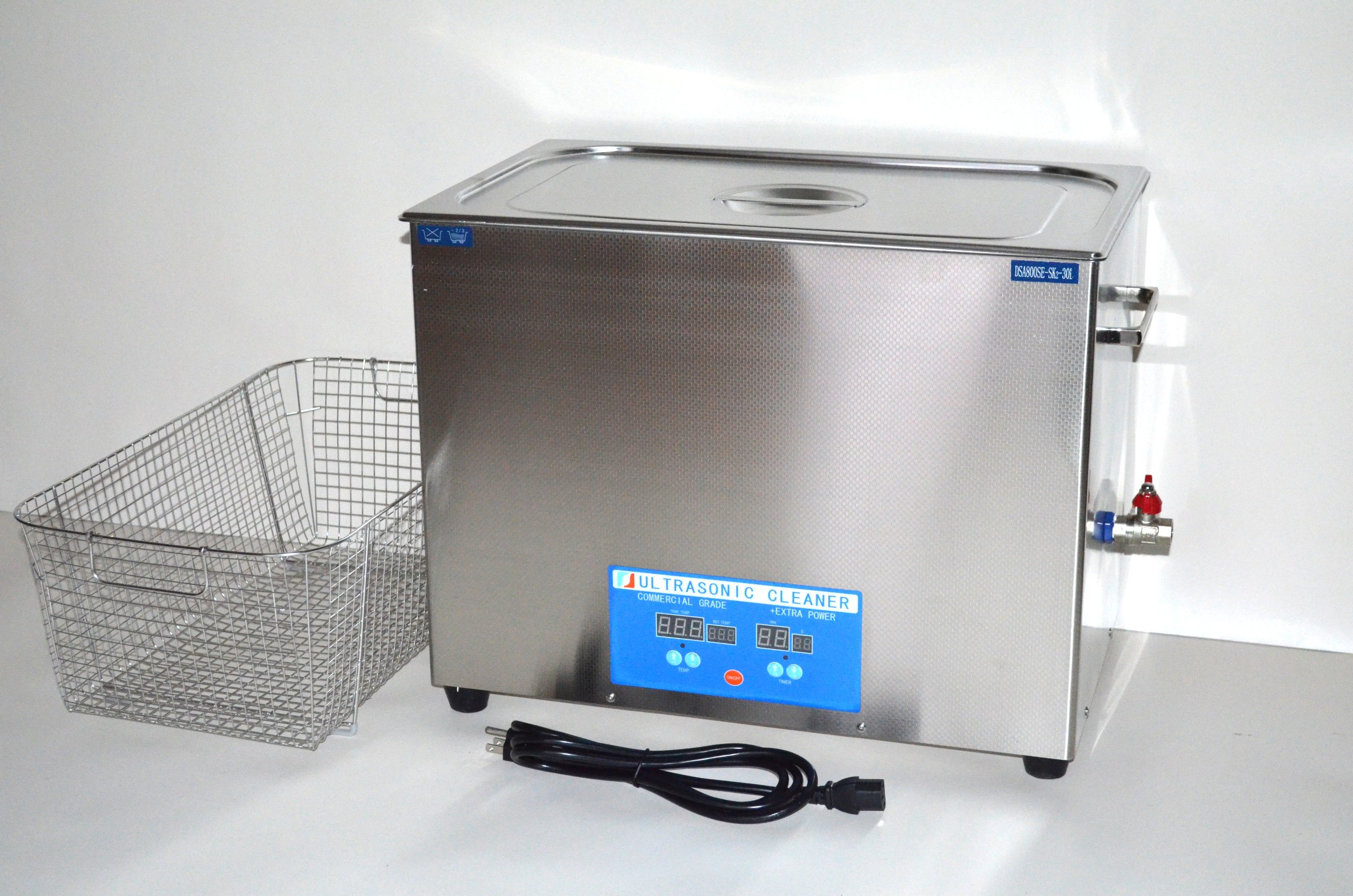 ''COMMERCIAL+ EXTRA POWER'' SERIES DSA800SE-SK2 30L (8 GAL) 1600 WATTS 40KHz DIGITAL HEATED INDUSTRIAL STAINLESS STEEL ULTRASONIC PARTS CLEANER MACHINE WITH INBOARD BASKET AND TOP COVER LID