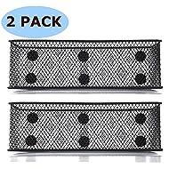 """Magnetic Locker Basket Magnetic Baskets for Refrigerator Magnetic Pen/Pencil Holder Locker Accessories - 7.8"""" Wide - 6 Strong Magnets - 2 Pack - Black"""