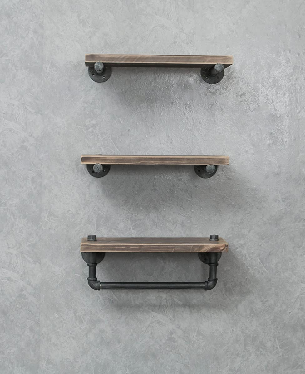 Industrial Pipe Shelving Shelves Bookcase Rustic Wood Metal Wall Mounted Towel Bar Hanging Storage Racks Floating Wood Shelves