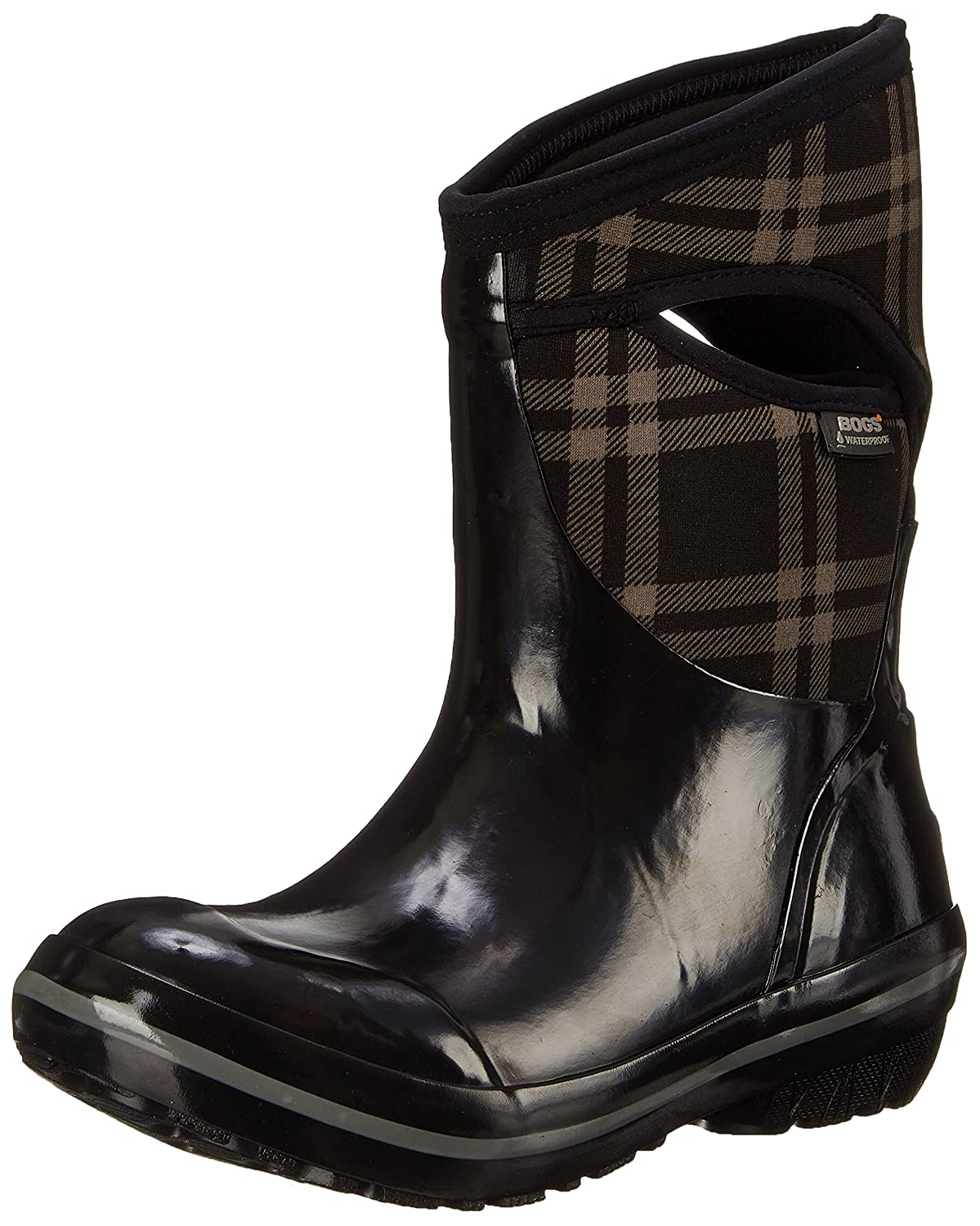 Bogs Women's Plimsoll Plaid Mid Winter Snow Boot B00QMMDAVG 7 B(M) US|Black