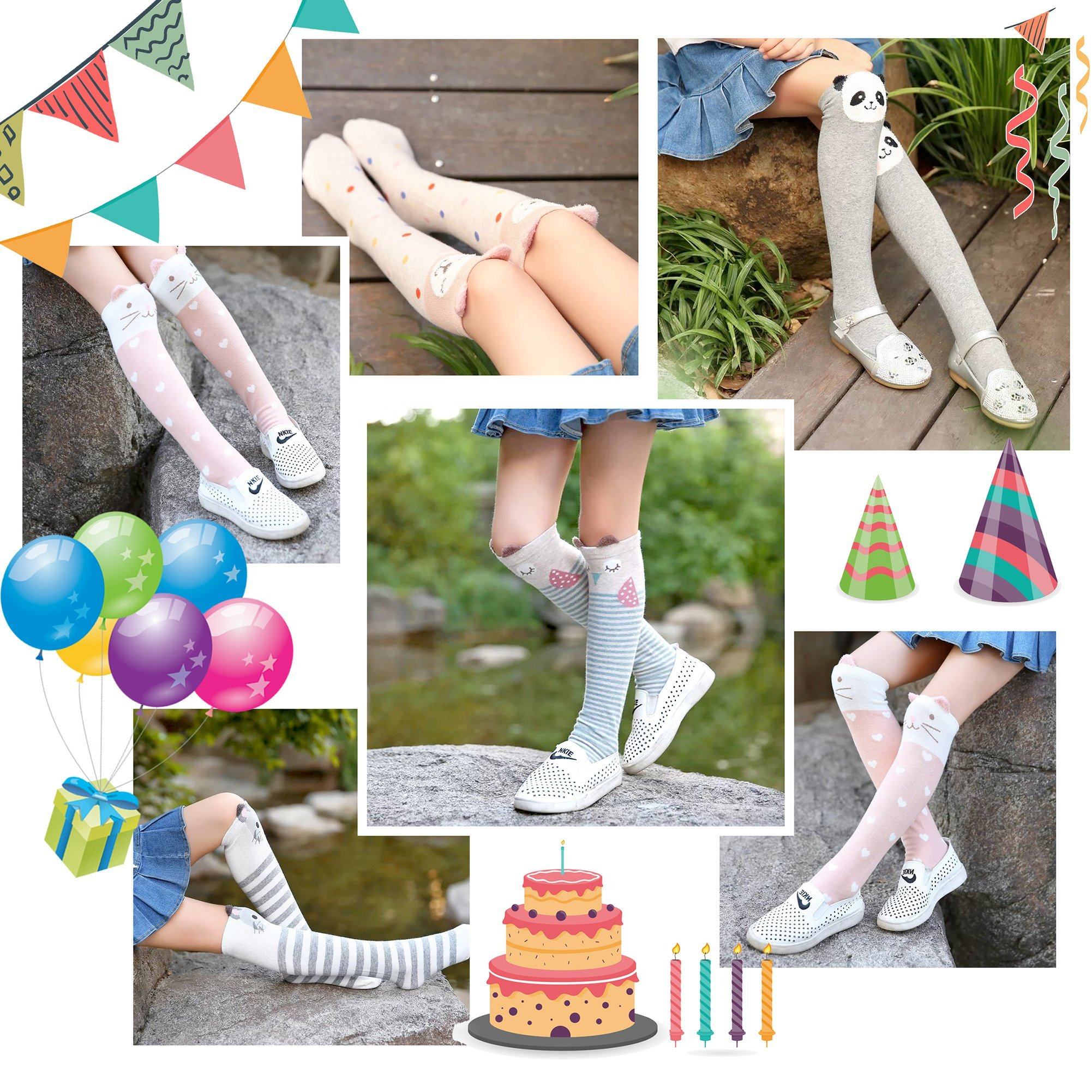 Color City Kids Girls Socks Knee High Stockings Cartoon Animal Theme Cotton Socks (6 Pairs) by Color City (Image #7)
