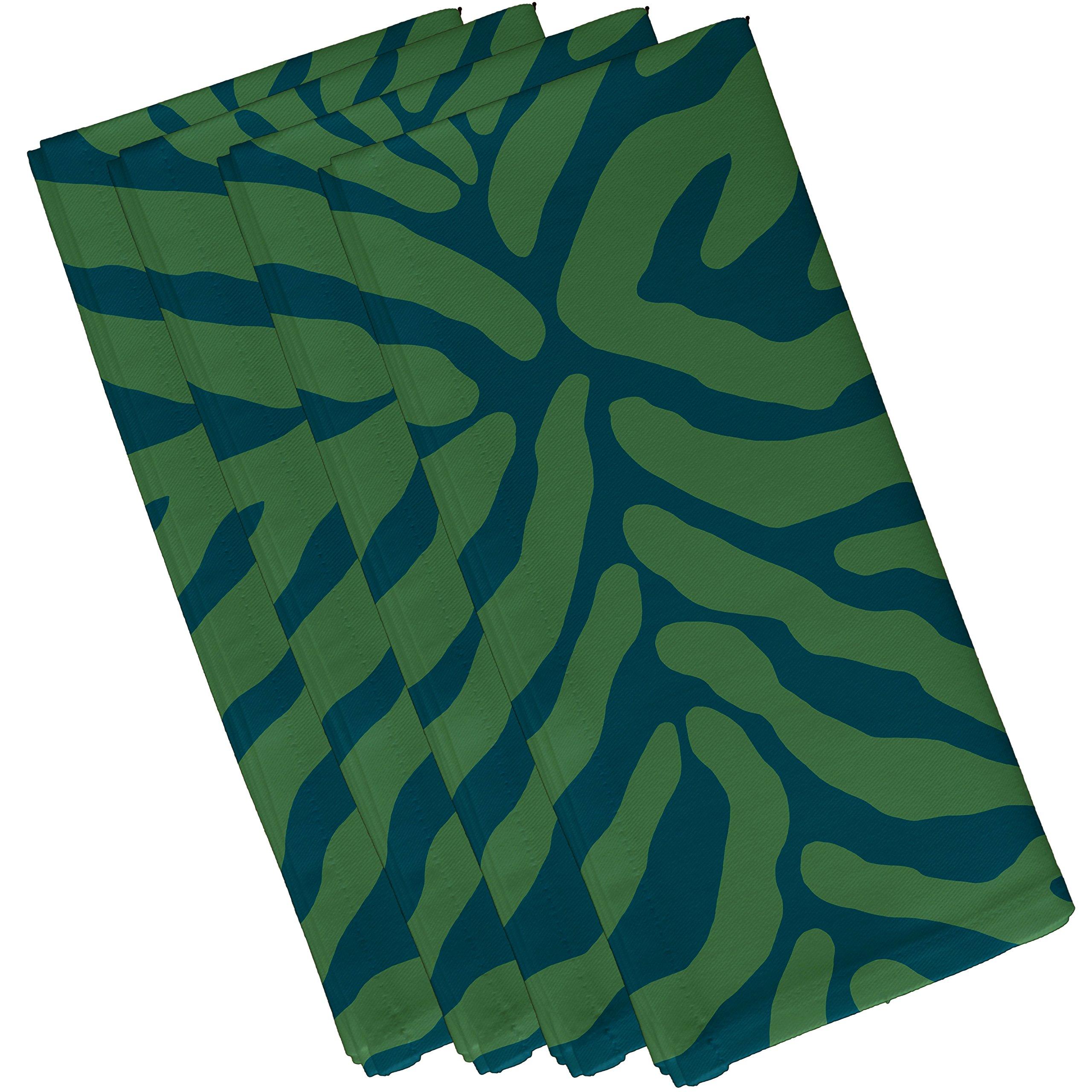 E by design Animal Stripe, Geometric Print Napkin, (Set of 4), 19 x 19'', Teal by E by design (Image #1)