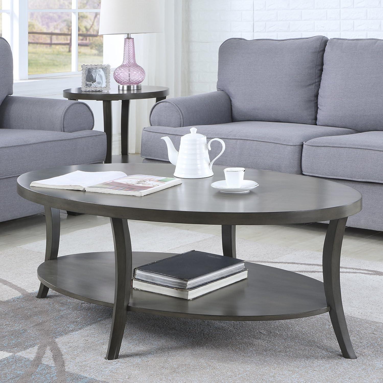 Amazon Com Roundhill Furniture Perth Contemporary Oval Shelf Coffee Table Gray Furniture Decor [ 1500 x 1499 Pixel ]