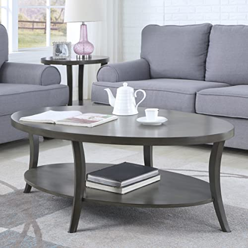 Roundhill Furniture Perth Contemporary Oval Shelf Coffee Table