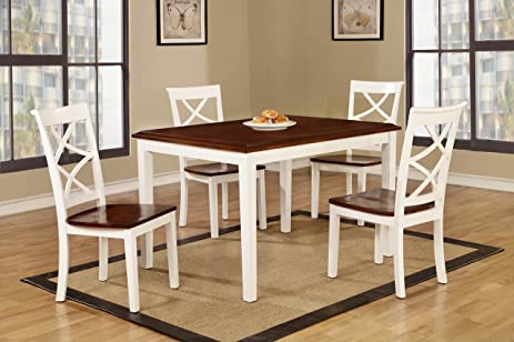 Roundhill Furniture 5 Piece Baum Two Tone Solid Wood Dining Set,  Cherry/White