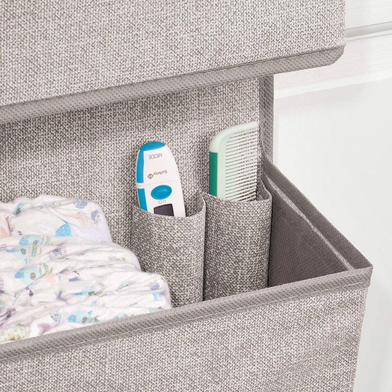 mDesign Organizador de tela con 3 bolsillos - Juego de 2 colgadores de puerta de tejido efecto yute - Estantería de tela ideal para artículos de bebé como ...
