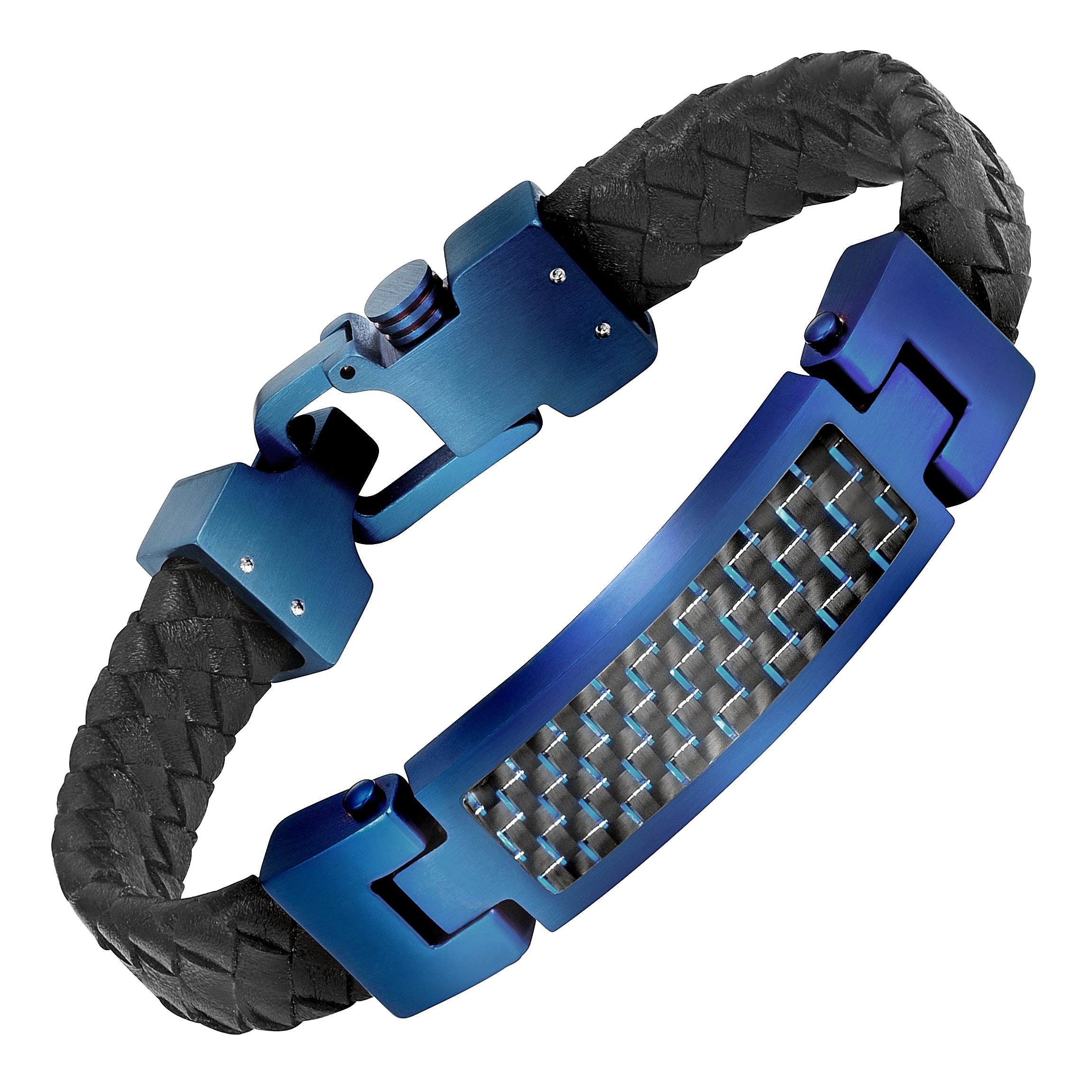 Willis Judd Blue Stainless Steel Engraved I LOVE YOU with Carbon Fiber Leather Bracelet in Gift Box