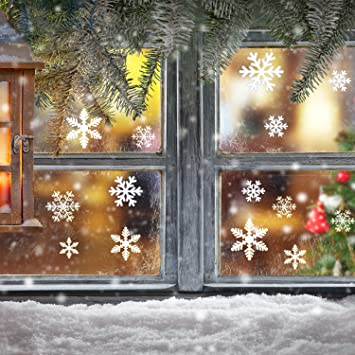 Amazoncom Blulu Snowflake Window Clings Sheet Vinyl Window - Snowflake window stickers amazon