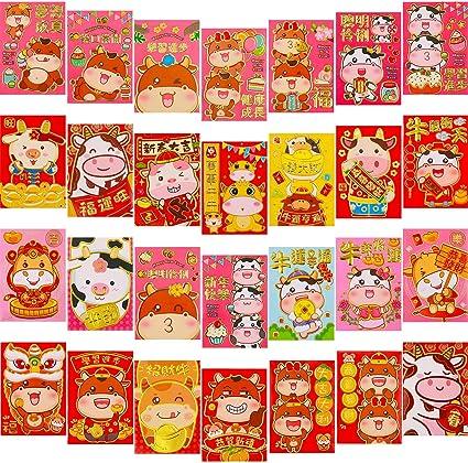 porte-bonheur motif vache de dessin anim/é Enveloppes rouges pour Nouvel An chinois 2021 Hong Bao cadeau pour argent porte-bonheur 6 motifs