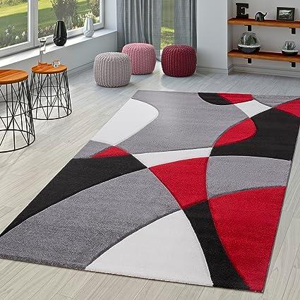 Tappeto moderno per salotto disegno astratto in Nero Grigio Rosso ...