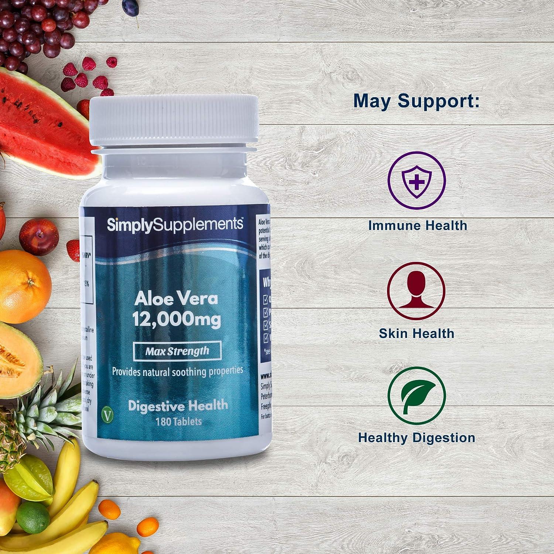 Aloe Vera 12,000mg Extra Fuerte | Efectos calmantes para mejorar la digestión | 180 comprimidos |Simply Supplements: Amazon.es: Salud y cuidado personal