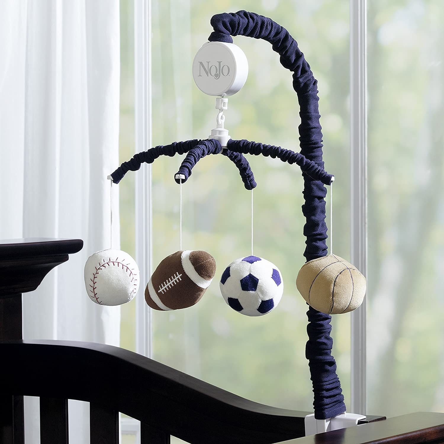 NoJo Play Ball Musical Mobile Navy//Red//Indigo//Ivory//Brown